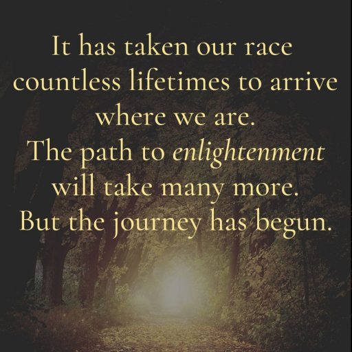 It has taken our race countless lifetimes to arrive where we are. The path to enlightenment will take many more. But the journey has begun.