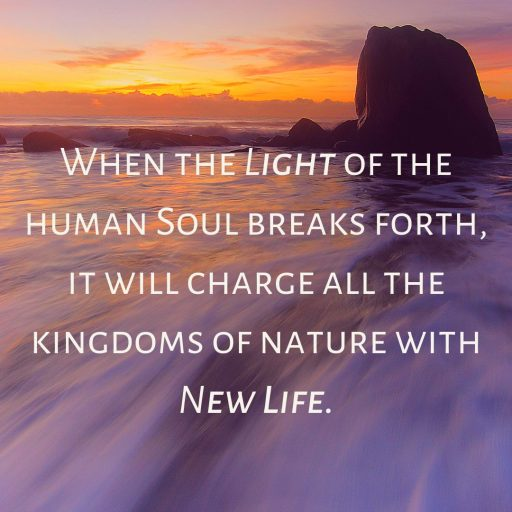 When the light of the human Soul breaks forth, it will charge all the kingdoms of nature with New Life.