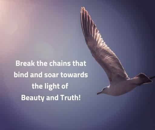 Break the chains that bind and soar towards the light of Beauty and Truth!