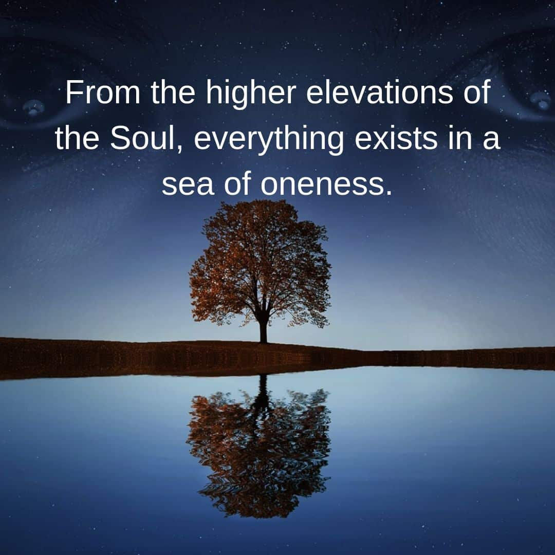 From the higher elevations of the Soul, everything exists in a sea of oneness.