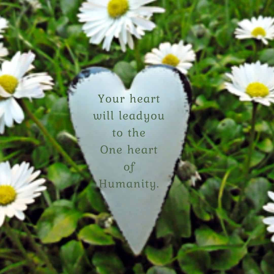 Your heart will lead you to the One heart of Humanity.