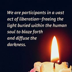 Participants in liberation freeing light to diffuse darkness