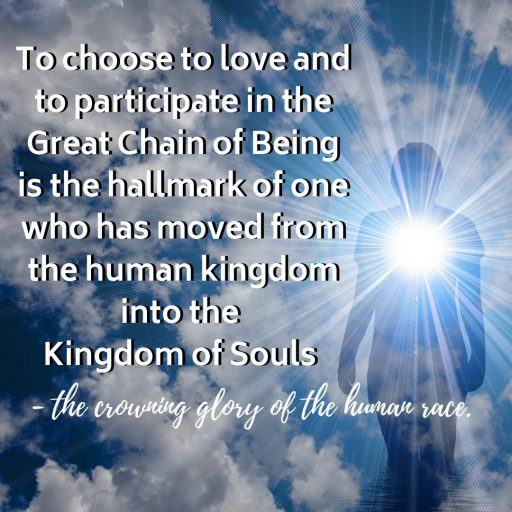 To choose to love and to participate in the Great Chain of Being is the hallmark of one who has moved from the human kingdom into the Kingdom of Souls - the crowning glory of the human race.