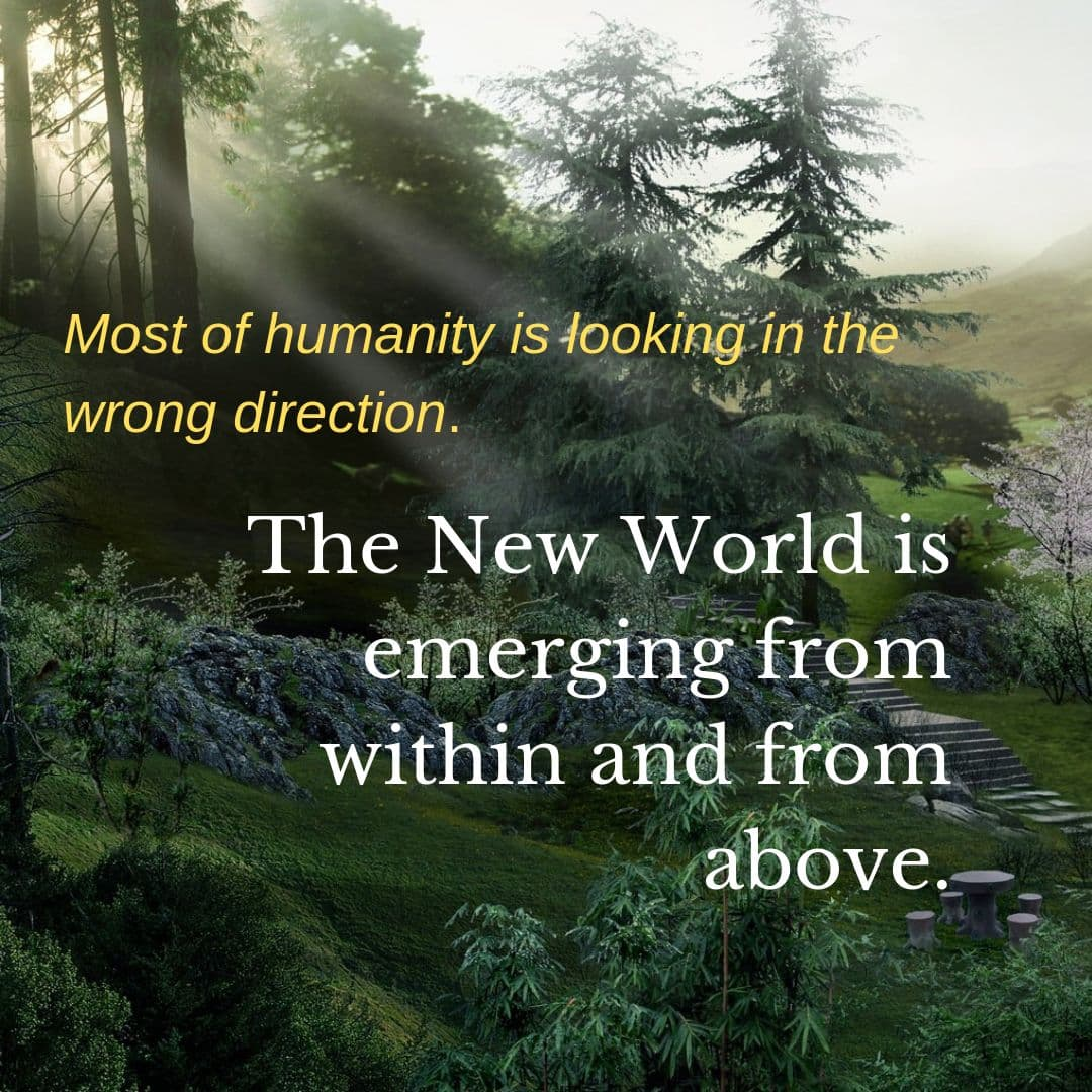 Most of humanity is looking in the wrong direction. The New World is emerging from within and from above.