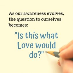 As our awareness evolves the question becomes Is This What Love Would Do