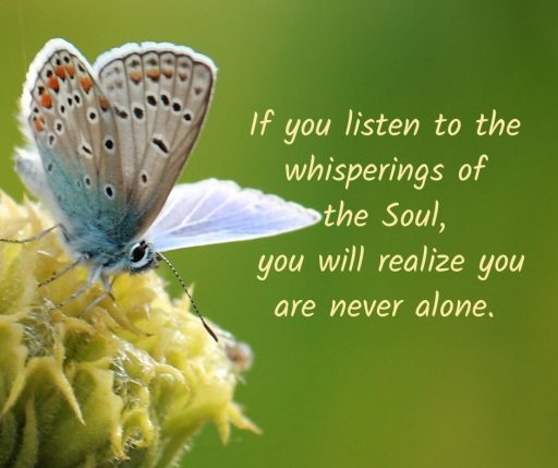 If you listen to the whisperings of the Soul, you will realize you are never alone.