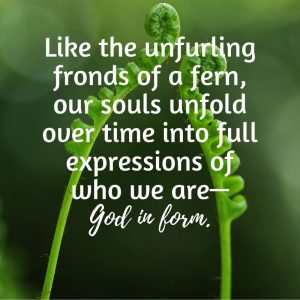 Like fern unfurling over time we God in form