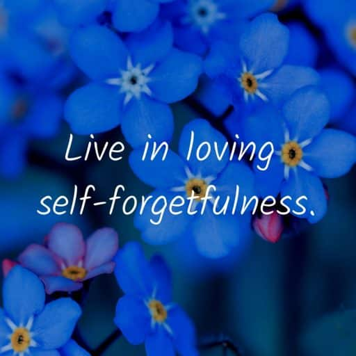Live in loving self-forgetfulness.