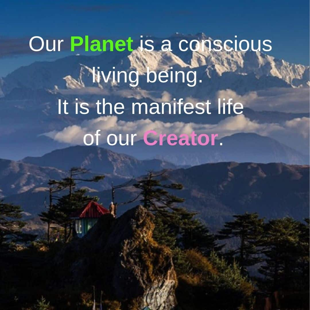 Our Planet is a conscious living being. It is the manifest life of our Creator.