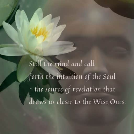 Still the mind and call forth the intuition of the Soul - the source of revelation that draws us closer to the Wise Ones.