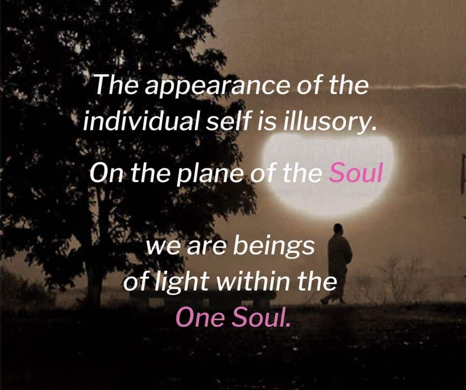 The appearance of the individual self is illusory. On the plane of the Soul we are beings of light within the One Soul.