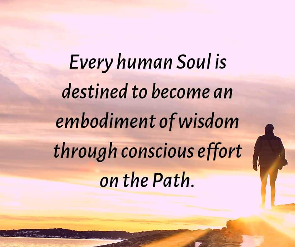 Every human Soul is destined to become an embodiment of wisdom through conscious effort on the Path.