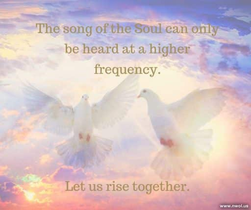 The song of the Soul can only be heard at a higher frequency. Let us rise together.