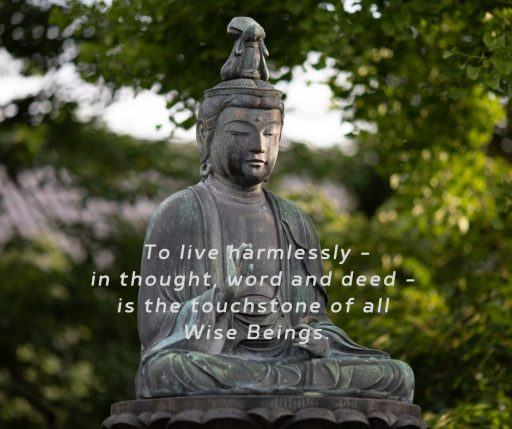 To live harmlessly —in thought, word and deed—is the touchstone of all Wise Beings.