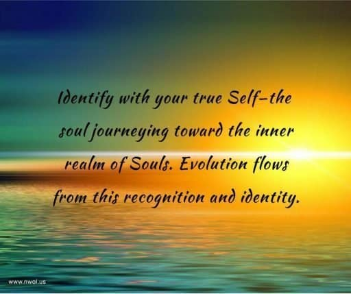 Identify with your true Self—the soul journeying toward the inner realm of Souls. Evolution flows from this recognition and identity.