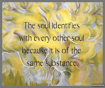 The soul identifies with every other soul because it is of the same substance