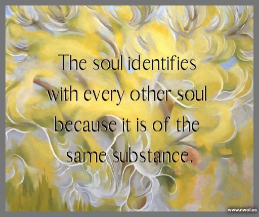 The soul identifies with every other soul because it is of the same substance.