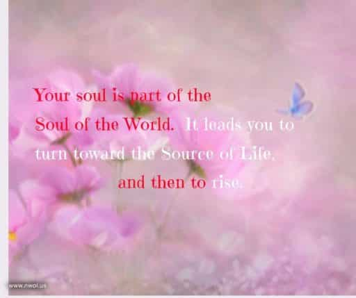 Your soul is part of the Soul of the World. It leads you to turn toward the Source of Life, and then to rise.