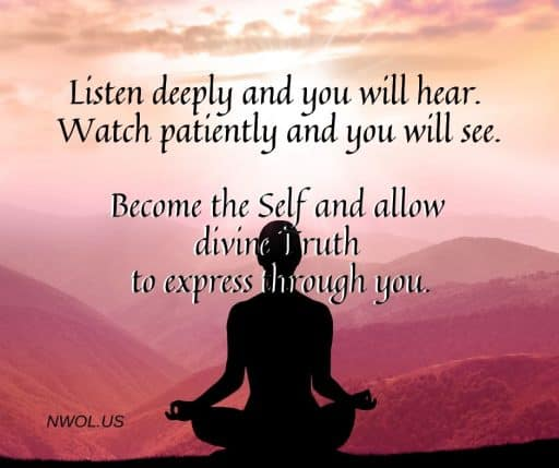 Listen deeply and you will hear. Watch patiently and you will see. Become the Self and allow divine Truth to express through you.