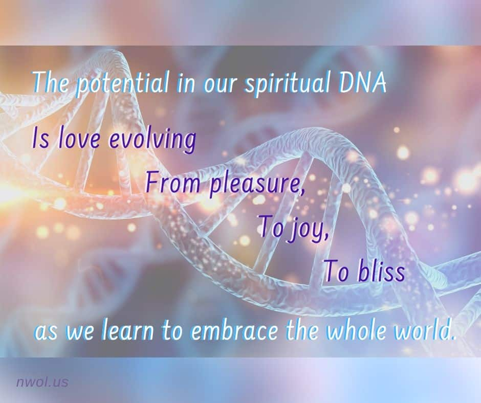 The potential in our spiritual DNA is love evolving from pleasure, to joy, to bliss as we learn to embrace the whole world.