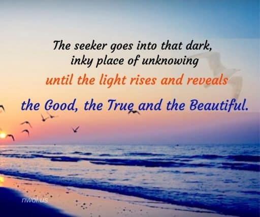 The seeker goes into that dark, inky place of unknowing until the light rises and reveals the Good, the True and the Beautiful.