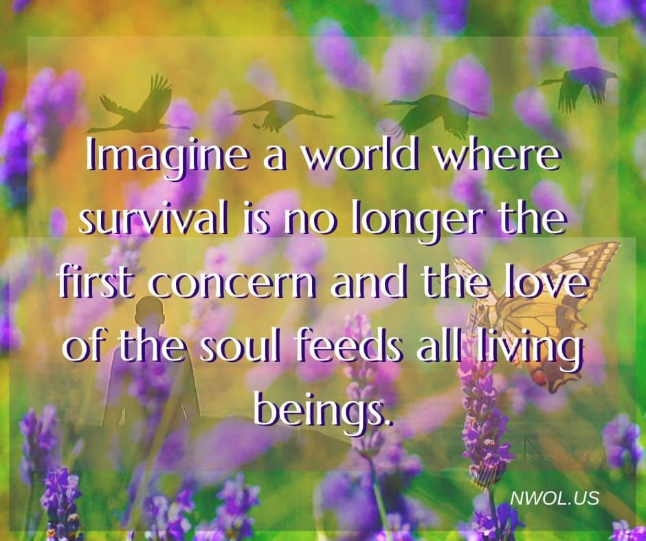 Imagine a world where survival is no longer the first concern and the love of the soul feeds all living beings.