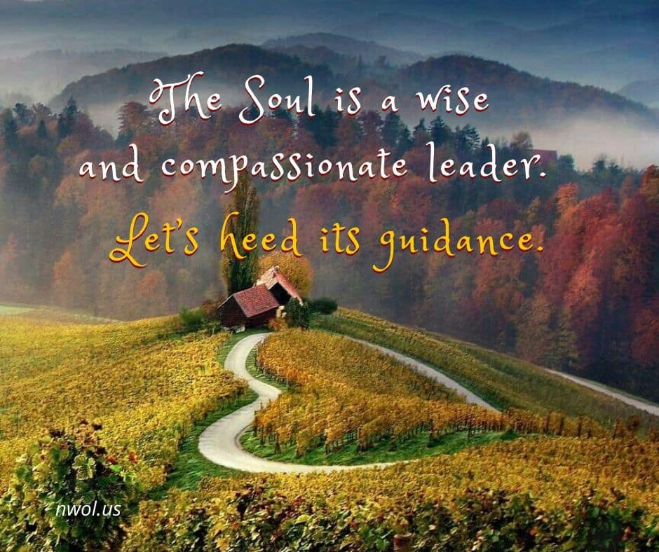 The Soul is a wise and compassionate leader. Let's heed its guidance.