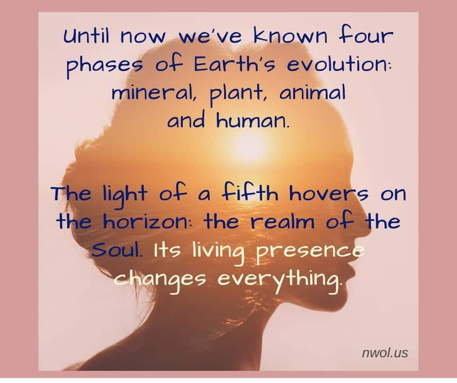 Until now we've known four phases of Earth's evolution: mineral, plant, animal, and human. The light of a fifth hovers on the horizon: the realm of the Soul. Its living presence changes everything.