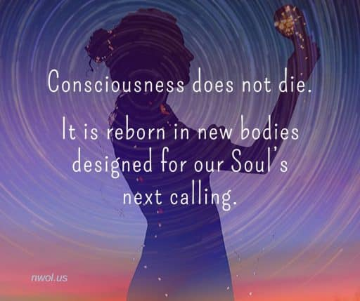 Consciousness does not die. It is reborn in new bodies designed for our Soul's next calling.