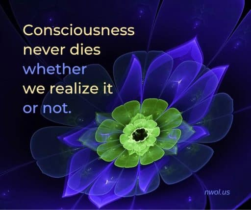 Consciousness never dies, whether we realize it or not.