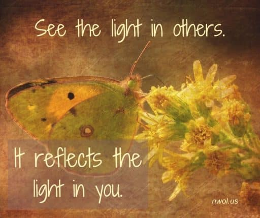 See the light in others. It reflects the light in you.