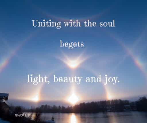 Uniting with the soul begets light, beauty and joy.