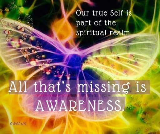 Our true self is part of the spiritual realm of Life. All that's missing is awareness.