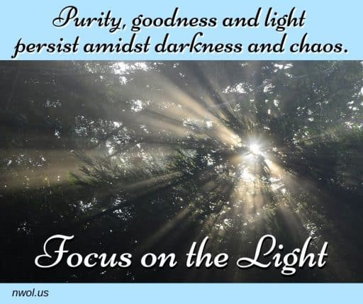 Purity, goodness and light persist amidst darkness and chaos. Focus on the Light.