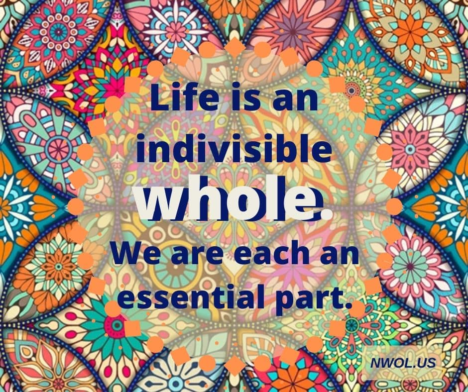 Life is an indivisible whole. We are each an essential part.