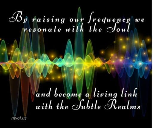 By raising our frequency we resonate with the Soul and become a living link with the Subtle Realms.