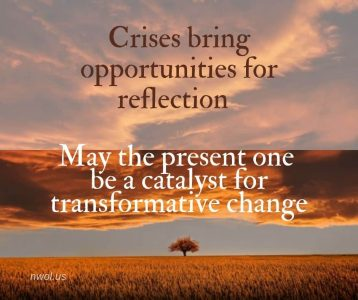 Crises bring opportunities for reflection