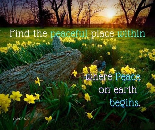 Find the peaceful place within where Peace on earth begins.