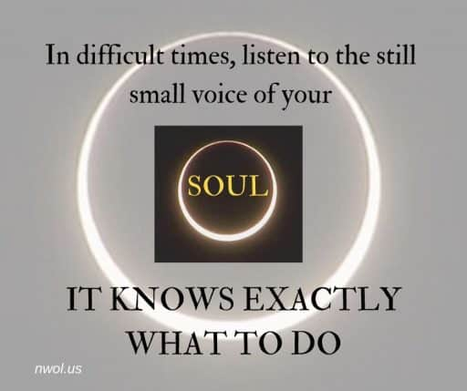 In difficult times listen to the still small voice of your soul. It knows exactly what to do.