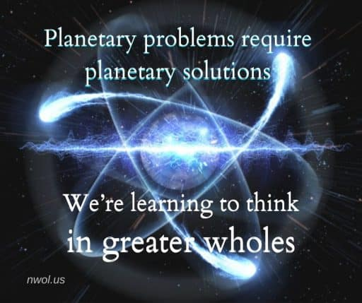 Planetary problems require planetary solutions. We're learning to think in greater wholes.