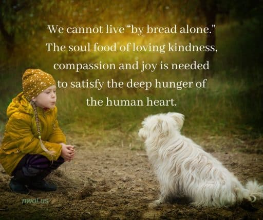 We cannot live 'by bread alone.' The soul food of loving kindness, compassion and joy is needed to satisfy the deep hunger of the human heart.