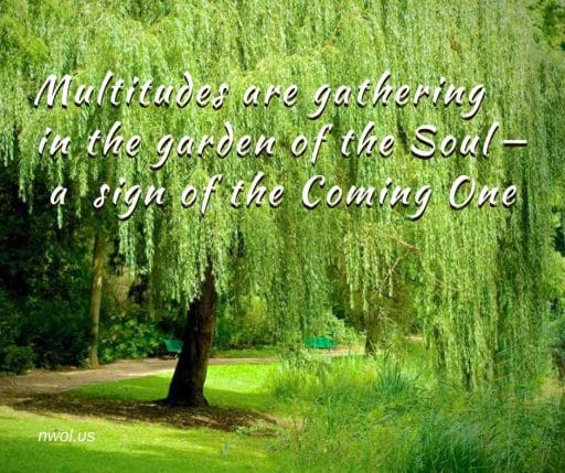 Multitudes are gathering in the garden of the Soul—a sign of the Coming One.