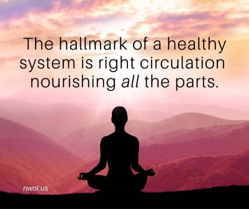The hallmark of a healthy system is right circulation nourishing all the parts.