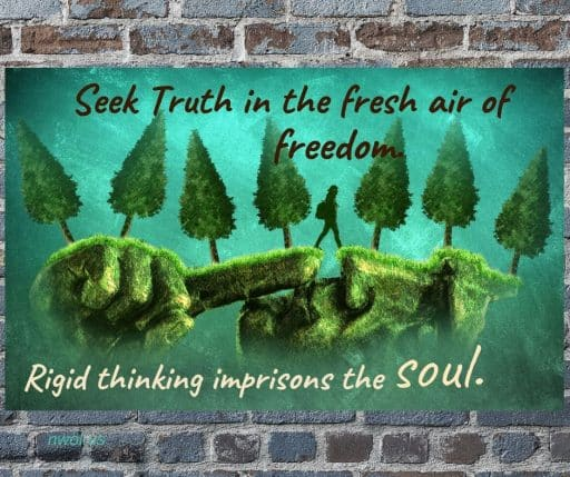 Seek truth in the fresh air of freedom. Rigid thinking imprisons the Soul.