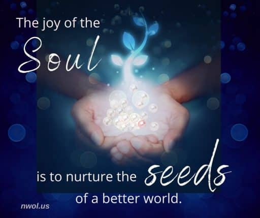 The joy of the Soul is to nurture the seeds of a better world.