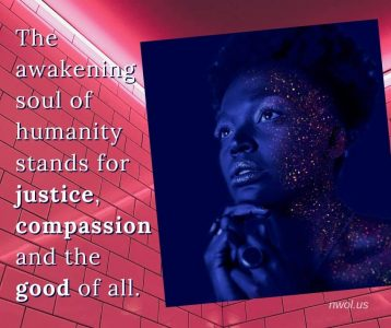 The awakening soul of humanity stands for justice