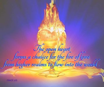 The open heart forms a chalice for the fire of love