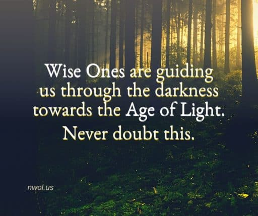 Wise Ones are guiding us through the darkness towards the Age of Light. Never doubt this.