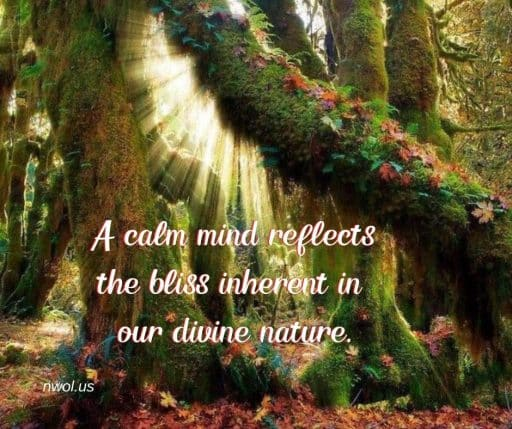 A calm mind reflects the bliss inherent in our divine nature.