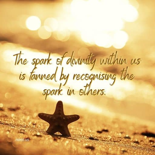 The spark of divinity within us is fanned by recognizing the spark in others.